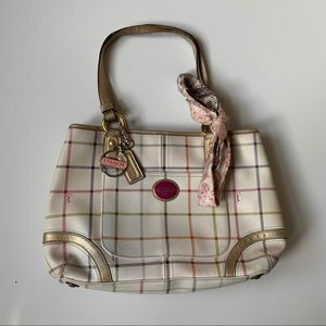 Coach White Payton Tattersall Leather Shoulder Bag